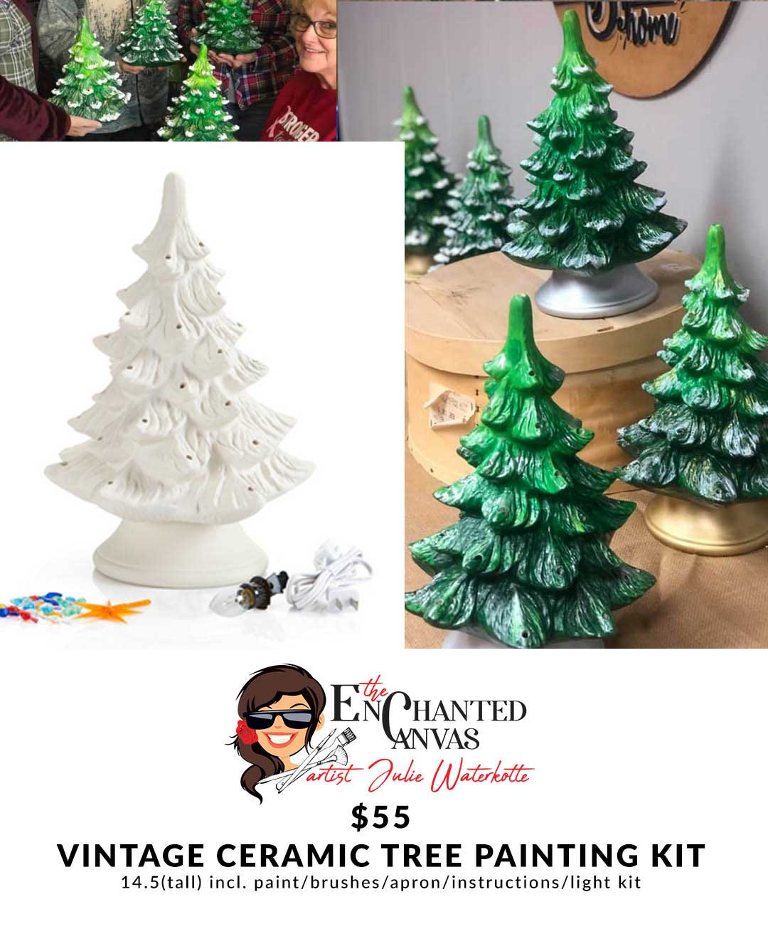 Lighted Vintage Ceramic Christmas Tree Take Home Kit The Enchanted Canvas